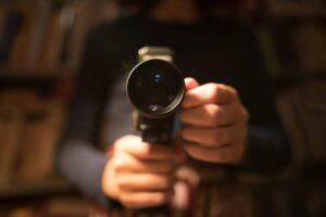 shooting movie with retro camera