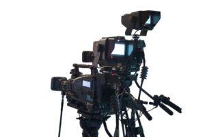 DSLR video camera mounted on a tripod