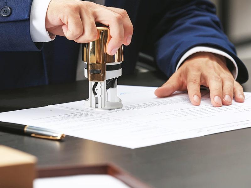 notary notarizing documents