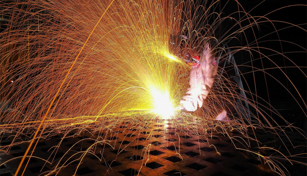 Welding with sparks flying