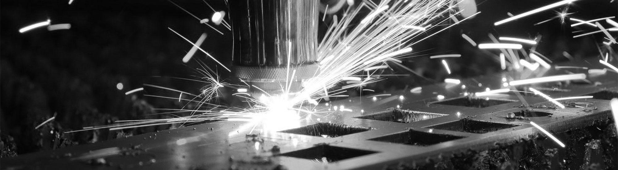 Laser cutting metal black and white