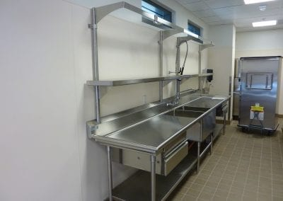 Custom Prep Sink with Pot Rack and Drawers