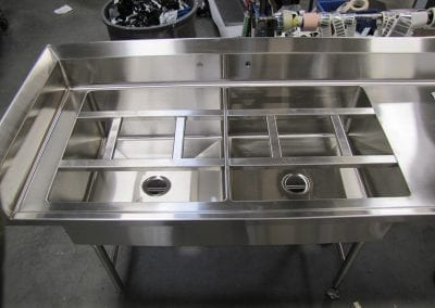 Custom Sink with Tray Slide Assembly