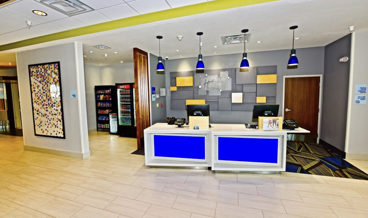 Commercial office with bright lights