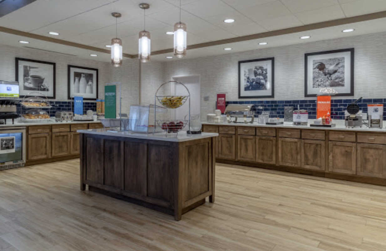 Commercial kitchen with remodeled lighting