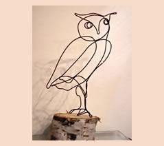 "Owl #3 5 1/2"" h x 4"" w on birch base"