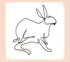"""Rabbit #2 5"""" w x 5 1/2"""" h for wall / shelf"""