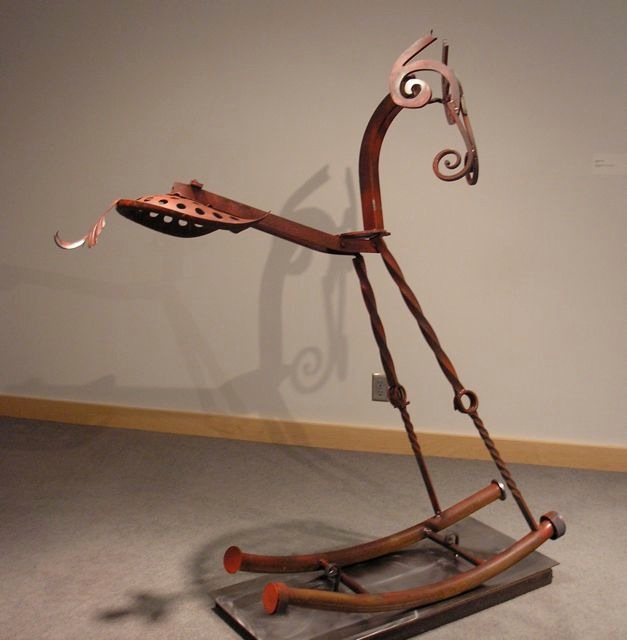 """Rocking Horse Welded, Painted and Forged Steel 5' H. 5.5"""" Long"""