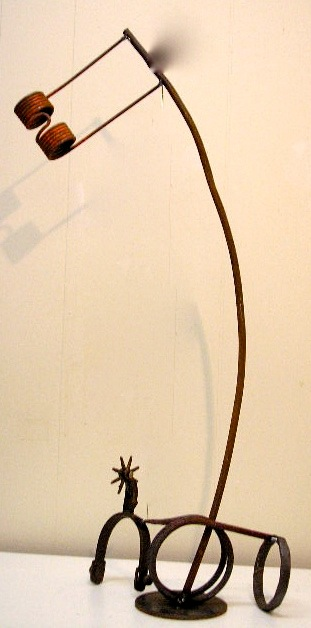 """Cowboy and Horse 20"""" H Welded Steel and Spur"""