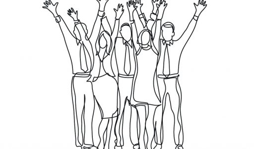drawing of motivated sales team cheering waving hands