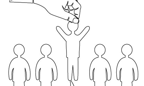 drawing of hand picking person from lineup