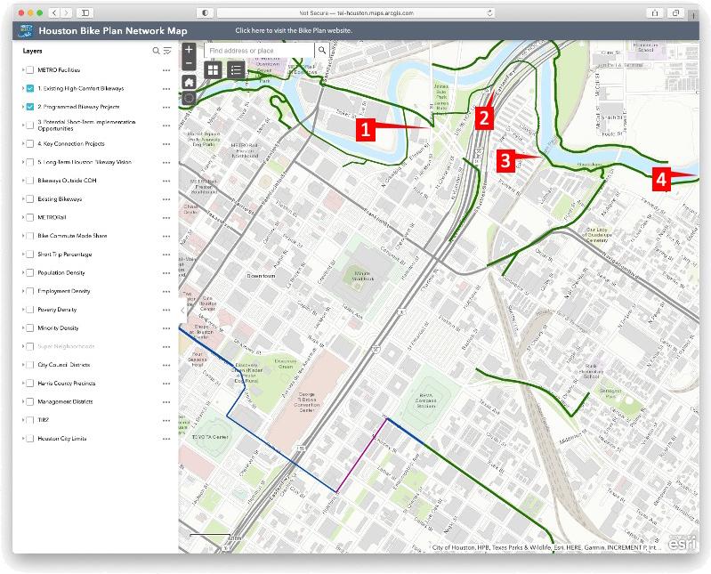 parts of Buffalo Bayou Bike trail to avoid