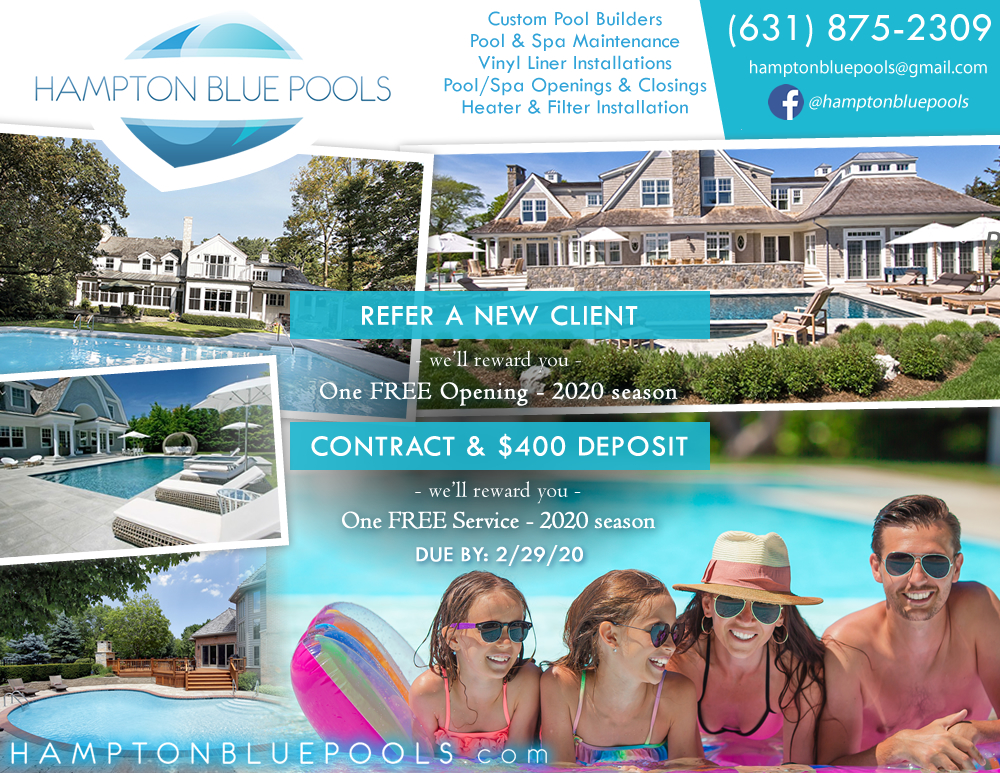 Advertising Flyer for Pool Services Company in Southampton, NY