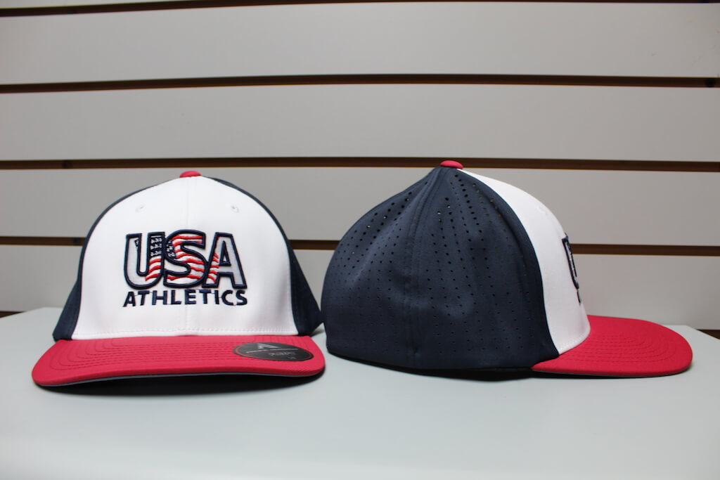 Flex Fit Moisture Mesh Hat White/Navy/Red S/M, L/XL $26.50