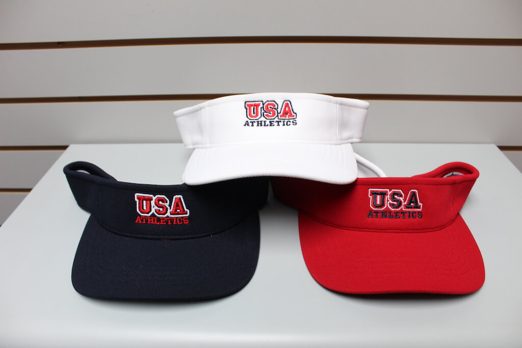Solid Moisture Visor Navy - Red - White Adjustable $19.50
