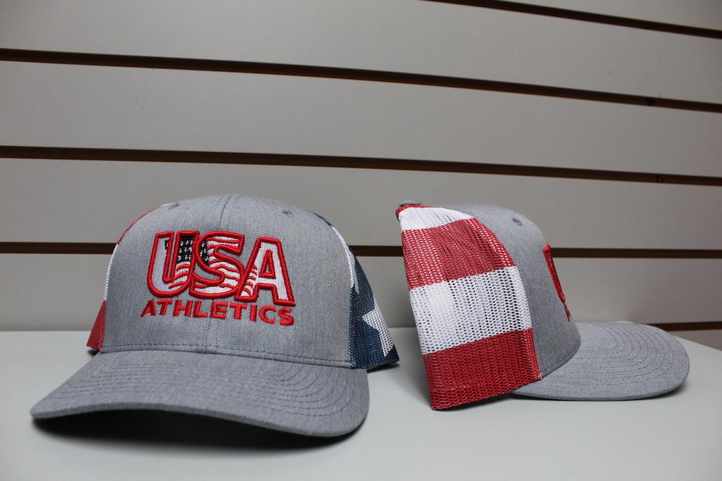 Stars and Stripes Trucker Hat Heather Gray Adjustable $22.50