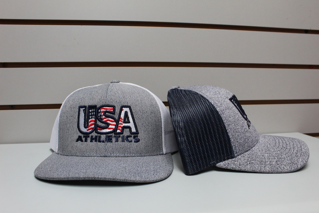 Heather Gray Trucker Hat Gray/Navy - Gray/White Adjustable $22.50