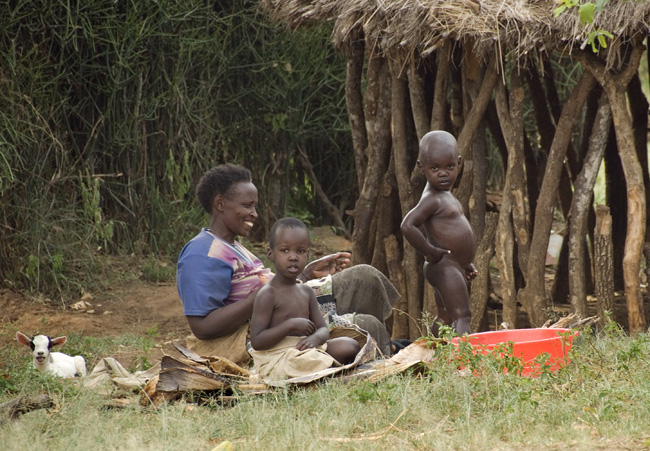 Bath time - Emmanuel's mom baths grandchildren in company of baby goat. 10-02-07