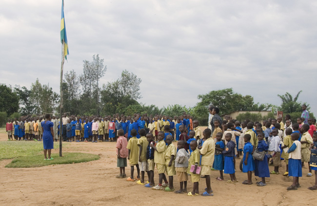 Flag ceremony at the beginning of the school day. 10-01-07