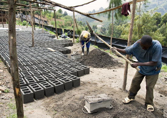 From cement to cinder blocks - mixing, molding, and drying, Butaro hospital, Rwanda