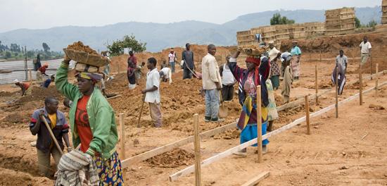 Foundation construction, Butaro hospital, Rwanda