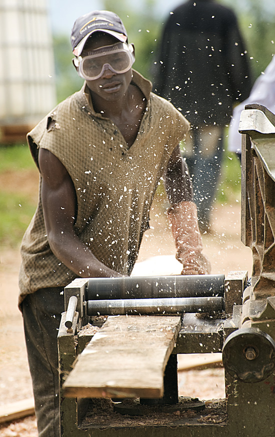 Woodworking at Butaro hospital site, Rwanda