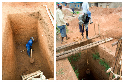 After clearing the land, TIG prisoners in Rwanda dig the toilet.  The first step in construction of a home.