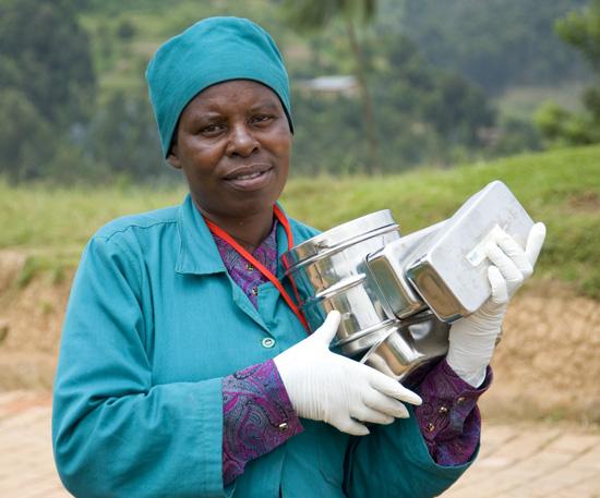 Transferring supplies between buildings, Butaro Hospital, Rwanda