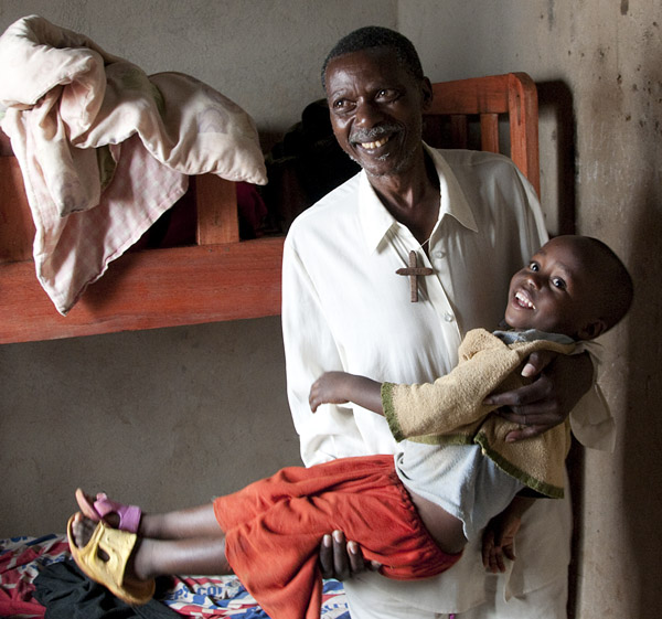 """The """"papa"""" of the orphange is one of two adults living on site."""