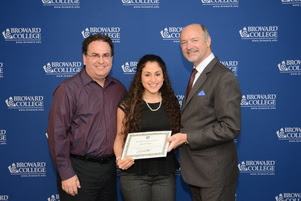 Founder Andy Fernandez, Rachel Fernandez, and Broward College President J. David Armstrong