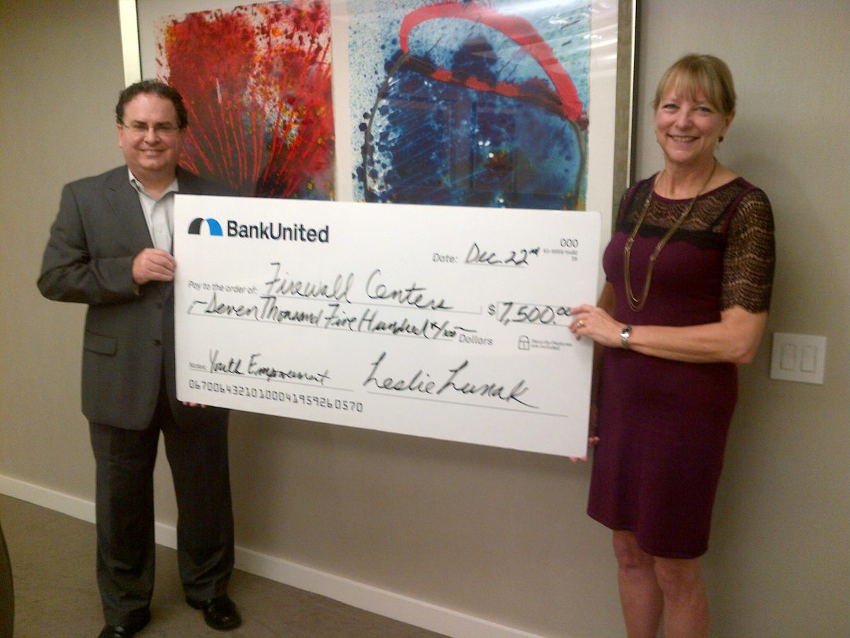 Firewall Centers receives $7,500 grant from Bank United to change student lives