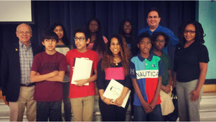 Firewall Board member, Bill Marks (left) with Firewall students and staff