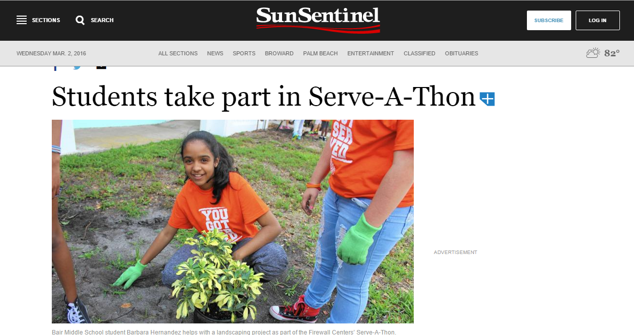 Serve-A-Thon in the Sun Sentinel