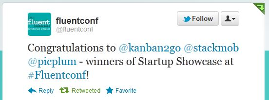 Fluent Conference startup showcase winners - includes Kanban2Go