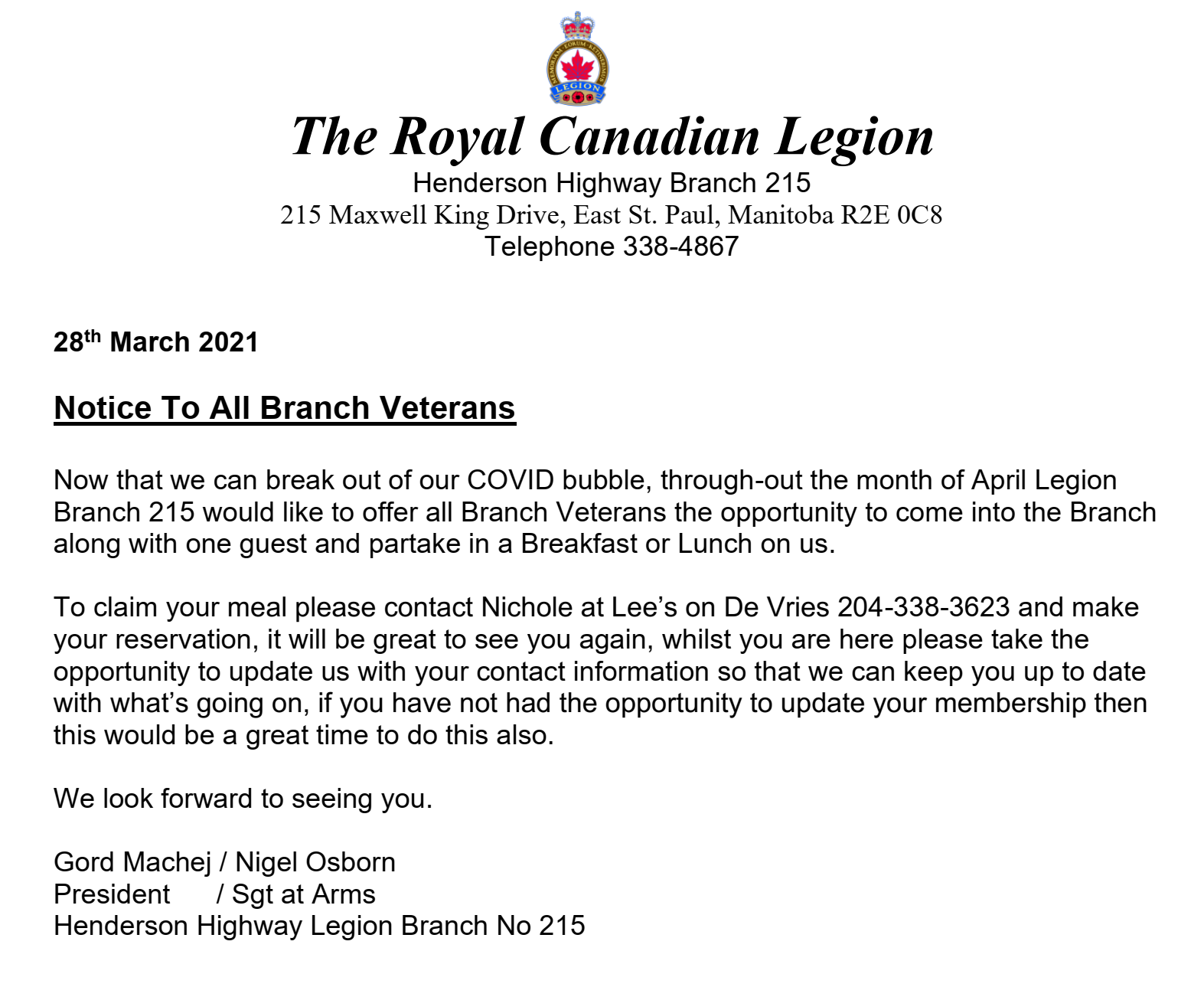 VETERANS MEAL HAS BEEN EXTENDED MONTH OF MAY