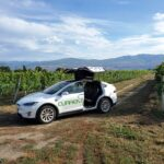 current taxi, tesla, helen siwak, dale conway, okanagan lake, getaway, electric vehicle, vancouver, bc, yvr, vancity