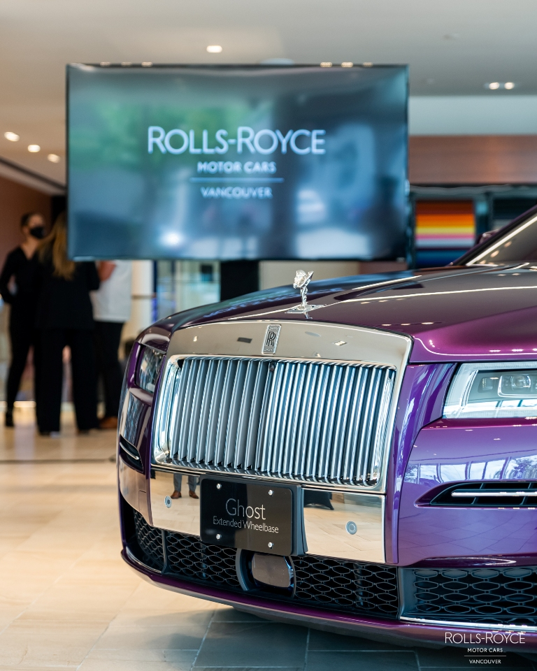 rolls royce, new ghost, twilight purple, tanis sullivan, launch party, helen siwak, folioyvr, vancouver, bc, kitsilano