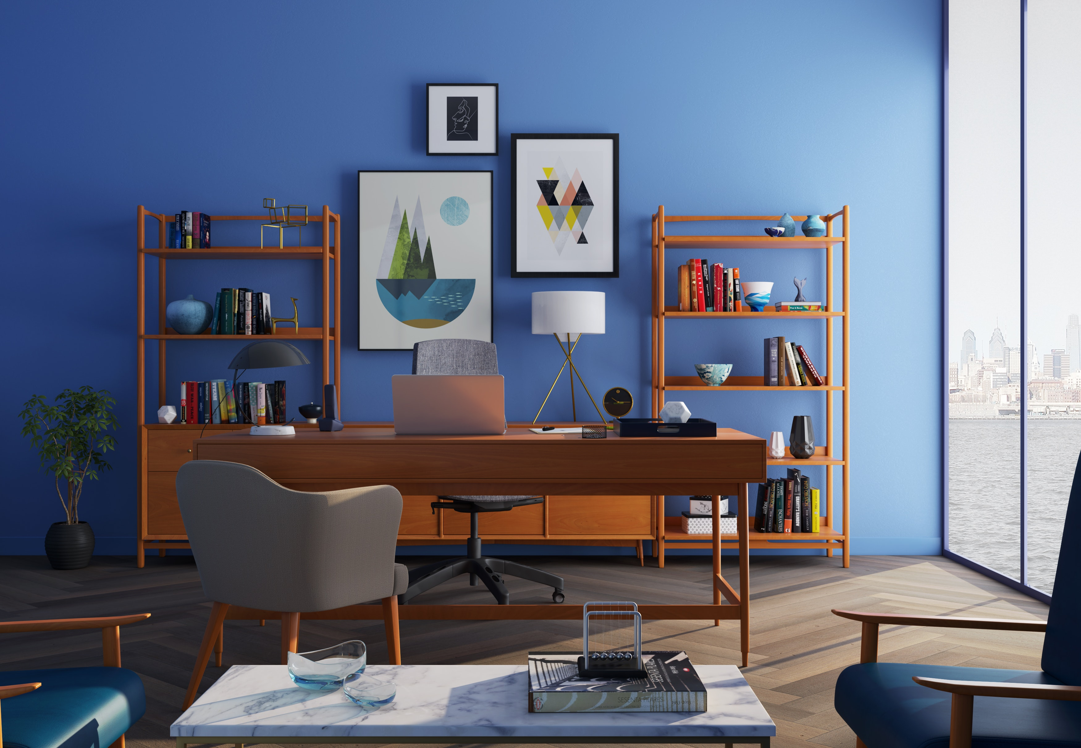brown-wooden-desk-with-rolling-chair-and-shelves-near-window-667838