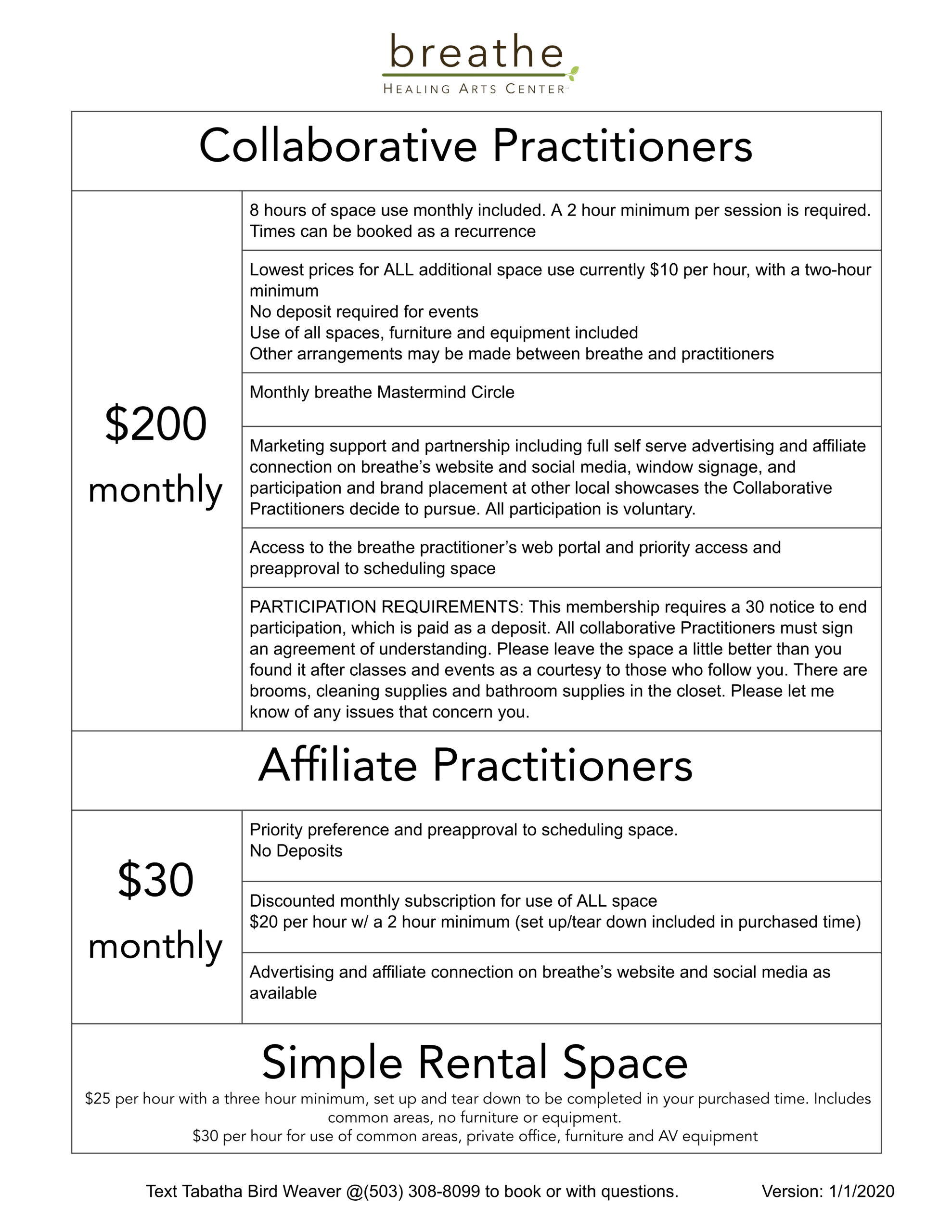2020 Practitioner Membership Levels
