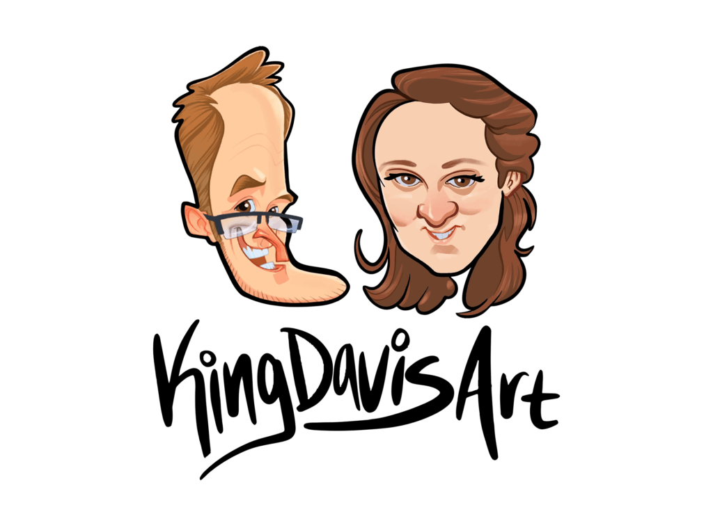 Caricatures of Sam and Kate Kingdavis
