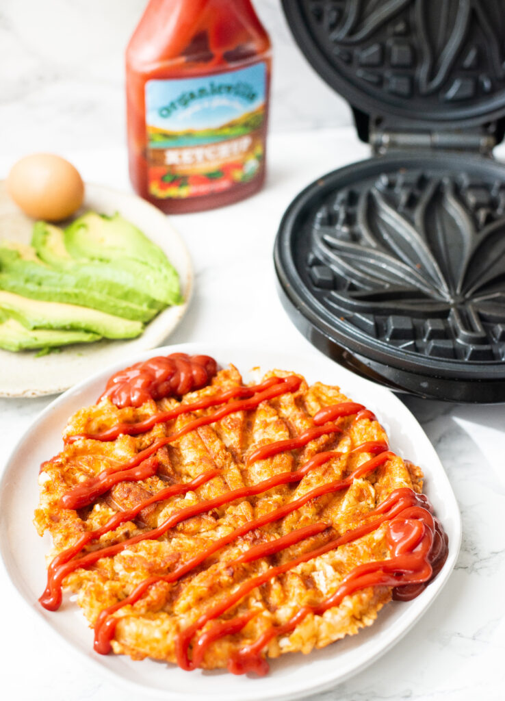 tater tot waffle with ketchup