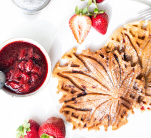 Strawberry Waffles with Strawberry Sauce