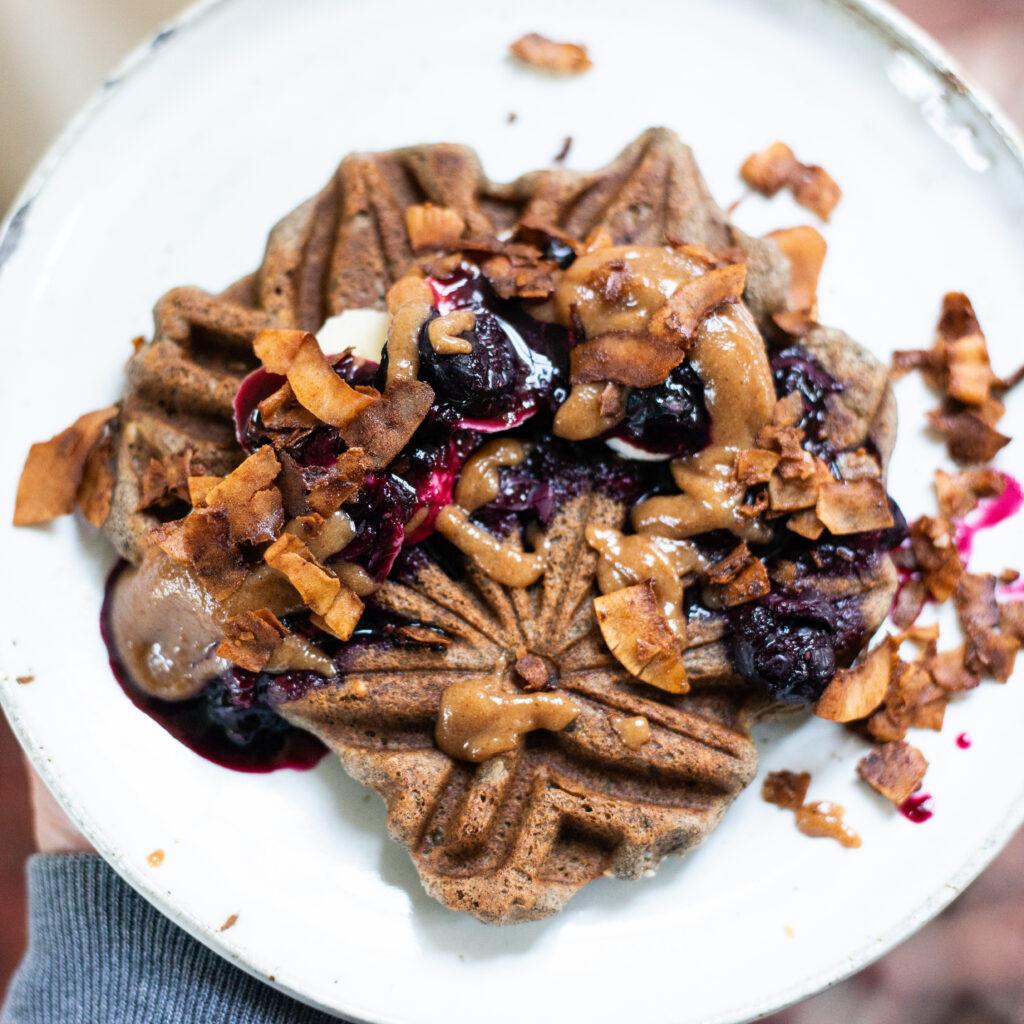Vegan gluten free buckwheat waffle