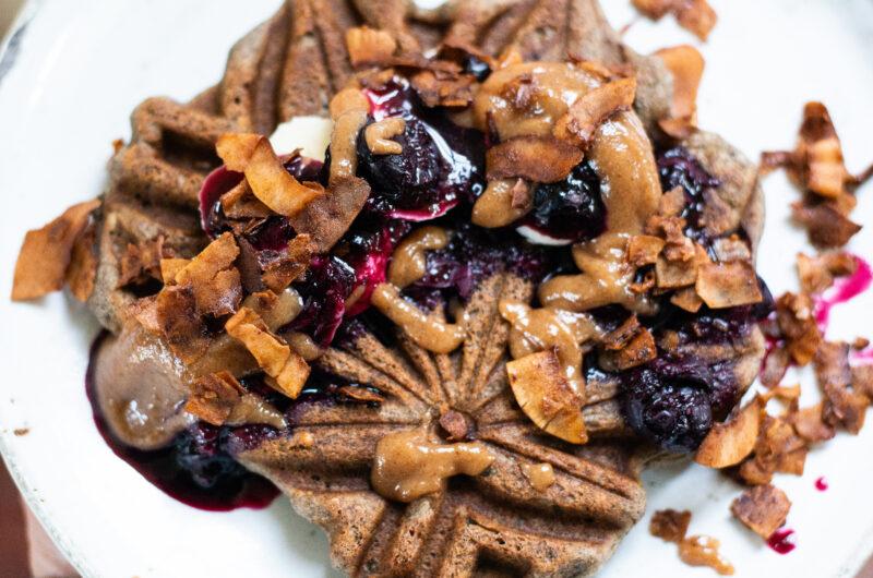 Allergy friendly waffles with hemp, coconut and buckwheat