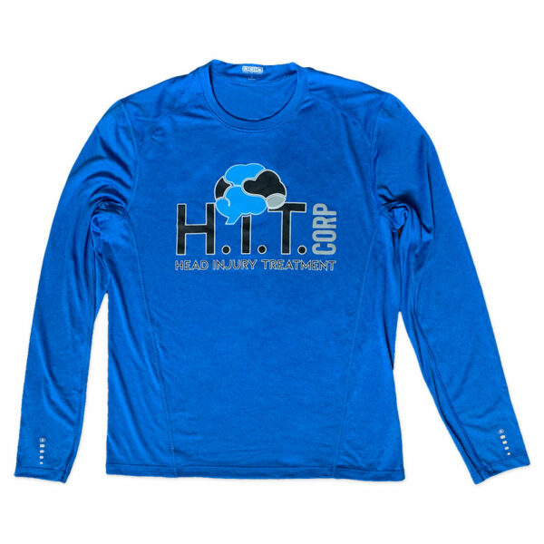 Mens Blue Long Sleeve Shirt with H.i.T. Corp logo