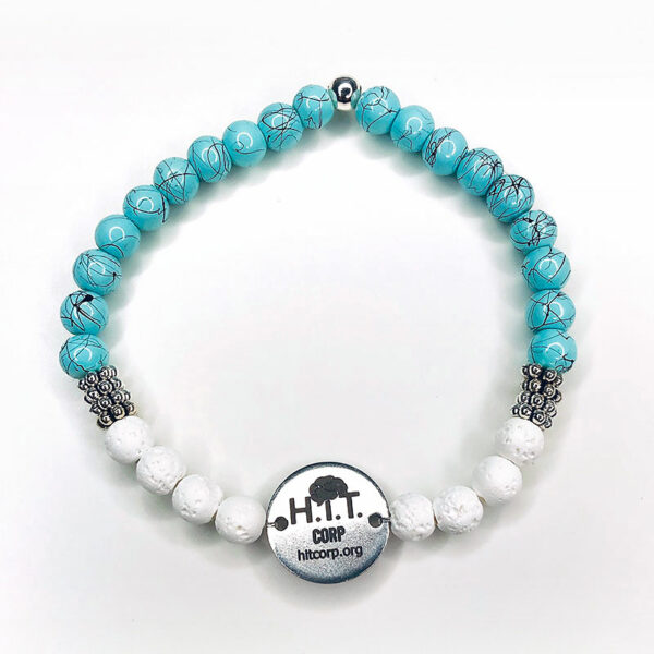 H.i.T. Corp bracelet with teal and white stones