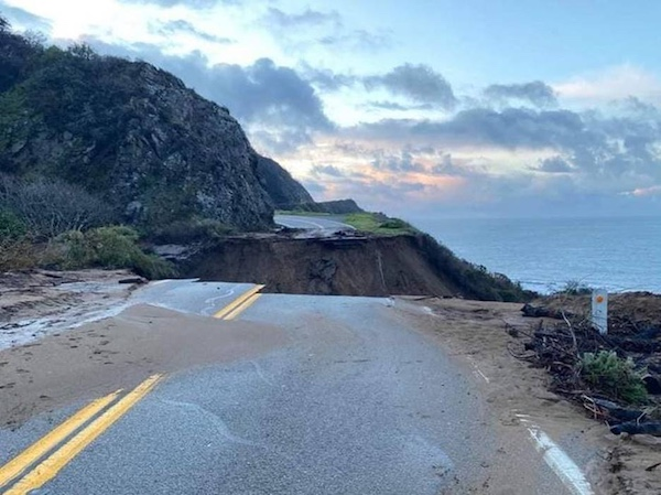 Watch dramatic drone video of collapsed section of historic Highway 1