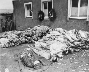 Corpses discovered by Americans liberating Buchenwald, 1945