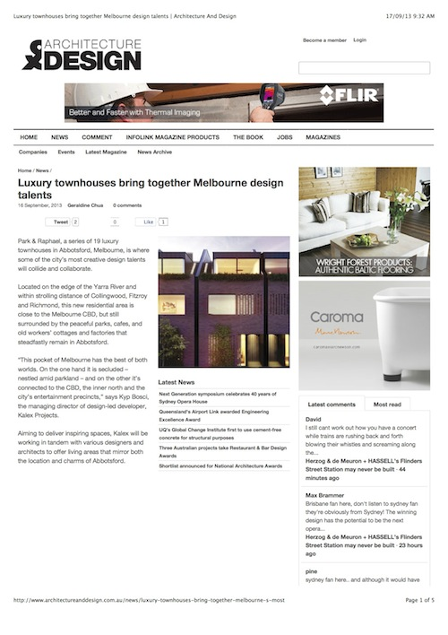 Luxury townhouses bring together Melbourne design talents
