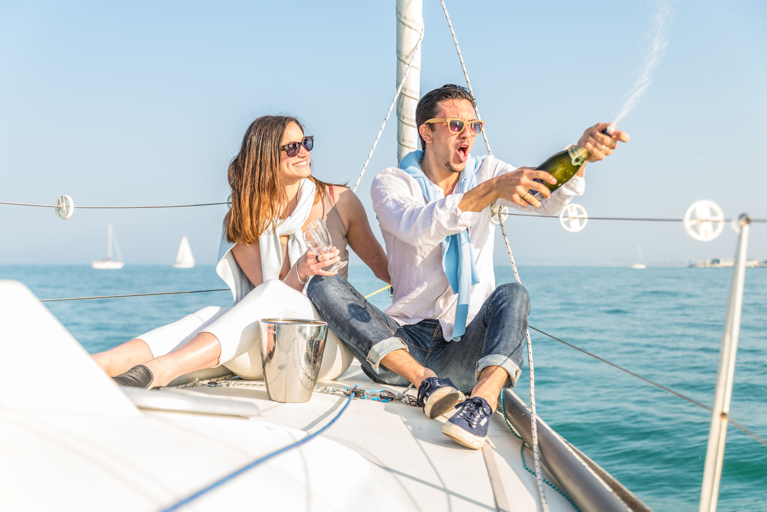 Couple celebrating on the boat